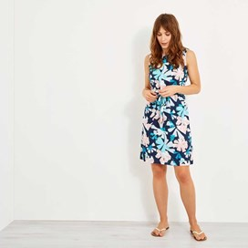 Kimi Printed Tea Dress Dark Navy