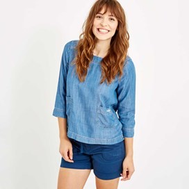 Anushka Slub Denim Tencel ® Top Light Denim