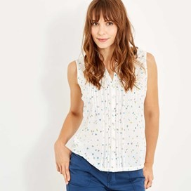 Wallace Sleeveless Print Shirt Light Cream