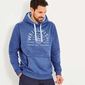 Bellicose Graphic Print Brushed Back Hoodie Deep Ocean