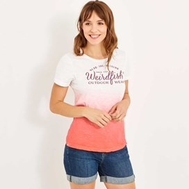 Craftwork Dip Dyed Graphic Print T-Shirt Vibrant Coral
