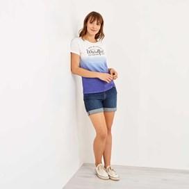 Craftwork Dip Dyed Graphic Print T-Shirt Clematis Blue