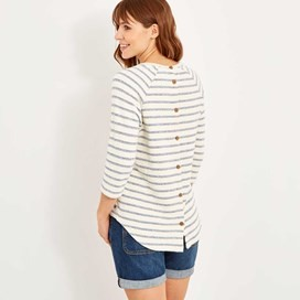 Roxie Striped Crew Neck Top Dark Denim