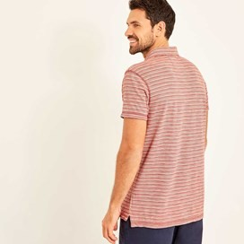 Gibson Slub Stripe Polo Shirt Baked Apple