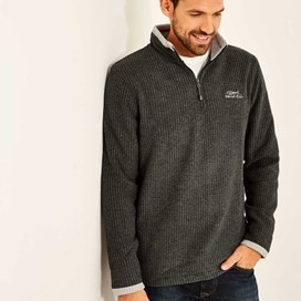 Ferdy 1/4 Zip Grid Fleece Charcoal