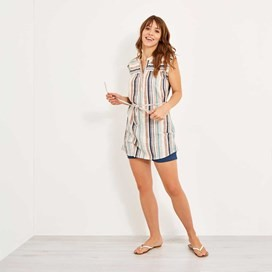 Latitude Woven Stripe Tunic Light Cream