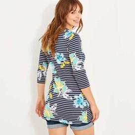 Adeline Printed Stripe Tunic Dark Navy