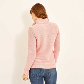 Eartha Full Zip Sierra Knit Coral Pink