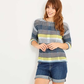 Violetta Twisted Cotton Stripe Jumper Dusty Teal