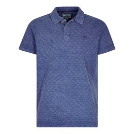 Herger Pigment Dyed Stripe Polo Maritime Blue