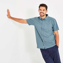 Newton Button Down Gingham Check Shirt Grey