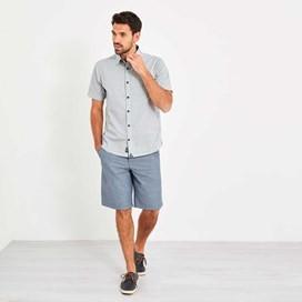 Moffat Fine Stripe Jacquard Short Sleeve Shirt Maritime Blue