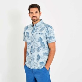 Harris Button Down Printed Denim Short Sleeve Shirt Denim Blue