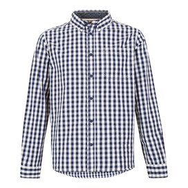 Blakely Long Sleeve Gingham Check Shirt Black Iris