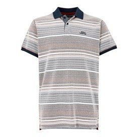 Persley Pique Dobby Stripe Polo Brick Orange