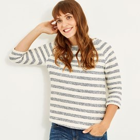 Saltlake Stripe Crew Top Dark Navy