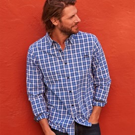 Lamarr Check Long Sleeve Shirt Ensign Blue