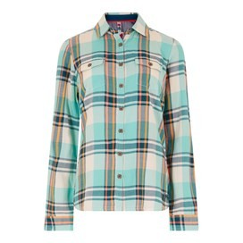 Rosa Check Twill Shirt Aqua Marine