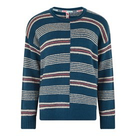 Niko Intarsia Stripe Jumper Deep Sea Blue