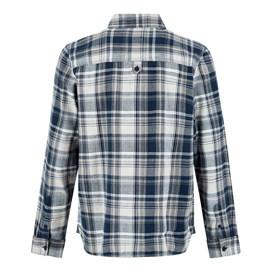 Matanic Long Sleeve Herringbone Check Shirt Maritime Blue