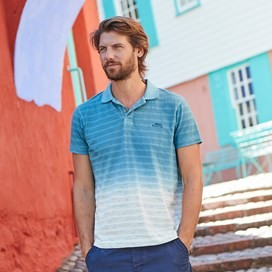 Drem Dip Dye Space Stripe Polo Dusty Teal