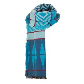 Denka Brushed Jacquard Scarf Deep Sea Blue