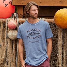 Poisson Branded Graphic T-Shirt Pale Denim