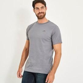 Fished Branded Graphic T-Shirt Dark Grey Marl