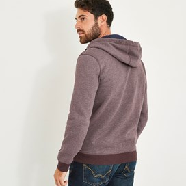 Drum Zip Through Fleece Hoody Mulled Wine