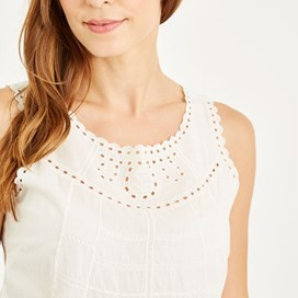 Narash Cutwork Voile Vest Light Cream