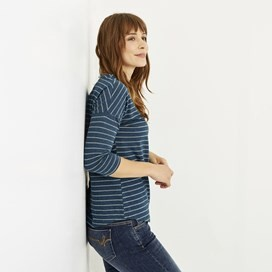 Livia Stripe T-Shirt Deep Sea Blue Marl