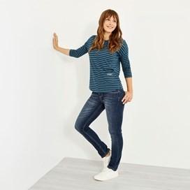 Livia Ladder Stripe T-Shirt Deep Sea Blue Marl