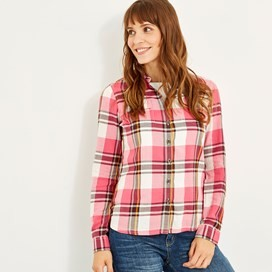 Rosa Check Twill Shirt Hot Pink