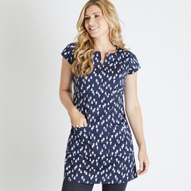Reve Printed Stretch Tunic Dark Navy