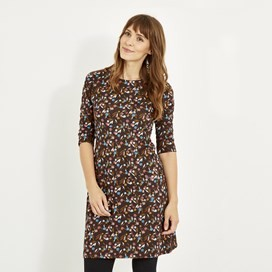 Starshine Printed Jersey Dress Mulled Wine