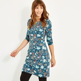 Starshine Printed Jersey Dress Deep Sea Blue