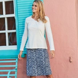 Malmo Printed Jersey Skirt Dark Navy