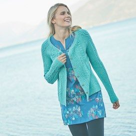 Sara Cable Knit Outfitter Cardigan Aqua Marine