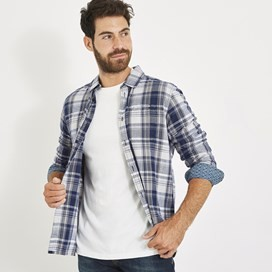 Matanic Long Sleeve Herringbone Check Shirt Maritime Blue
