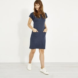 Talia Plain Jersey Dress Dark Navy Marl