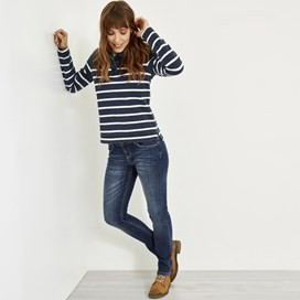Hansley Striped Pique Button Sweat Dark Navy