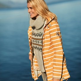 Arlene Fully Waterproof Striped Jacket Saffron