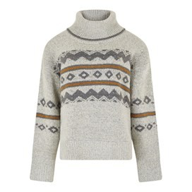 Edie Fair Isle Pop Over Pearl Grey