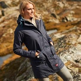 Beatrix Waxed Finish Waterproof Wadded Coat Dark Navy