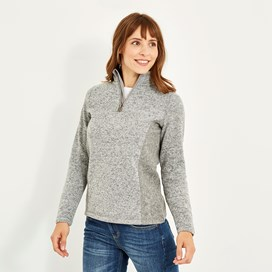 Sia 1/4 Zip Melange Soft Knit Frost Grey