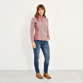 Sia 1/4 Zip Melange Soft Knit Rhubarb