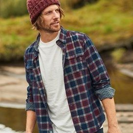 Avary Long Sleeve Washed Cord Check Shirt Oxblood