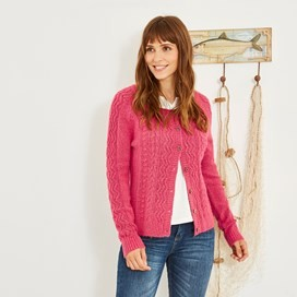 Sara Cable Knit Outfitter Cardigan Hot Pink