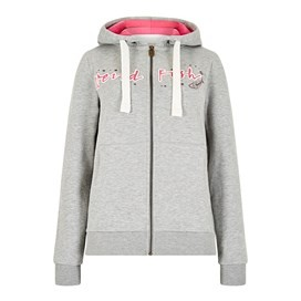 Corinne Branded Zip Through Hoody Frost Grey Marl