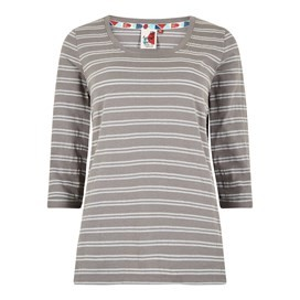 Millen Lurex Breton Stripe Tee Frost Grey